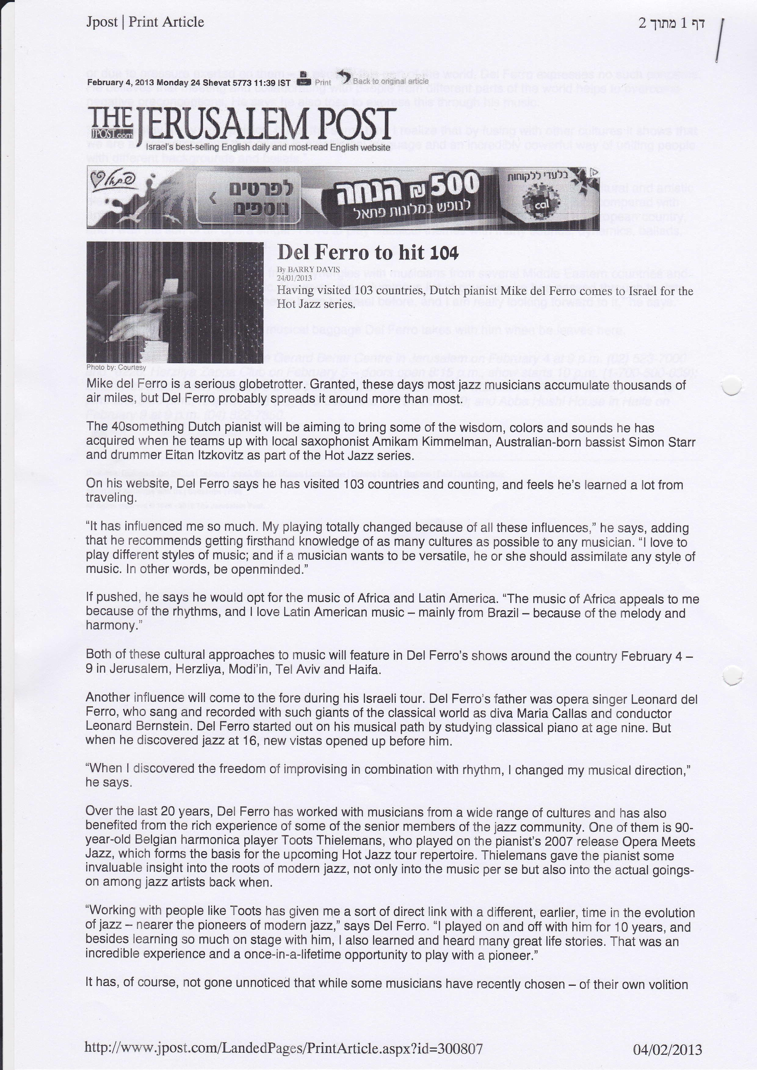 Del Ferro to hit 104- JERUSALEM POST- BARRY DAVIS_Page_1
