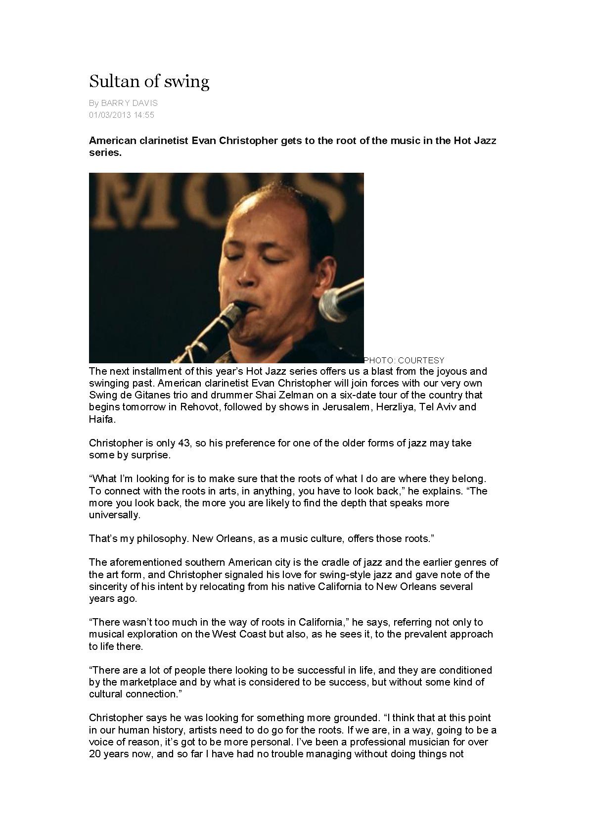 Sultan of swing אוון כריסטופר- בארי דייויס ג'רוזלם פוסט 2012_Page_1